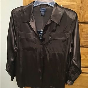 Blouse by Laura Scott, Sz 14 brown NWT